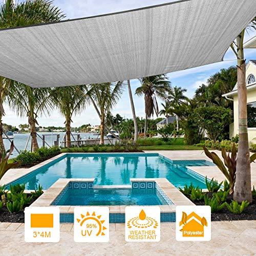 Innoo Tech Sonnensegel 3x4m, Rechteckig Wasserdicht Sonnenschutz Segel Schatten PES Polyester 95{5ed9c580a7151f82659a7ac0f6a2320c98b98329f2fbd939109d12a656dcb97e} UV-Schutz Tear Resistant für Garten, Innenhof, Outdoor Terrasse, Balkon (Grau)