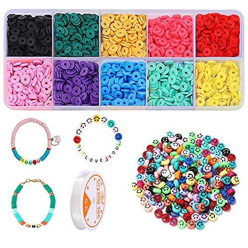 200 cuentas emoji con forma de emoticono, 1500 cuentas de arcilla polimérica multicolor, perlas para enhebrar, para pulseras, joyas, manualidades, regalos, niños y niñas