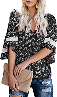 Womens V Neck Wrap Tops Short Sleeve Floral Print Loose Fitting Blouses Shirts