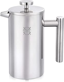 Magicafé French Press Coffee Maker – 2 or 3 Cups Small Stainless Steel Coffee Maker Double Walled French Press 750ML/24OZ