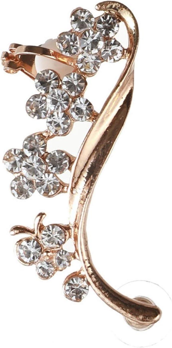 SHOYY Piercing Women Gift Crystal Ear Cuff Butterfly Zircon Flowers Earcuff Right Clips Earrings (Metal Color : Gold Color)