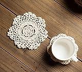 ICEBLUEOR - Juego de 6 manteles individuales de algodón hechos a mano, diseño de flores de ganchillo redondo (14 cm), color crema