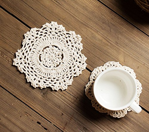iceblueor hecho a mano algodón encaje mesa manteles individuales redondo flor de ganchillo Doilies–Juego de posavasos (6unidades, 14cm), color blanco
