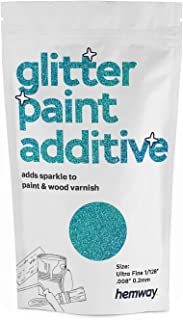 """Hemway Glitter Paint Additive Ultrafine 1/128"""" .008"""" 0.2MM Emulsion Water Based Paints Wall Ceiling 100g / 3.5oz (Ocean Blue Holographic)"""