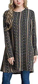 Muslim Women Loose Floral Design Shirt with Two Pocket Long Sleeves Maxi Blouse - Size M