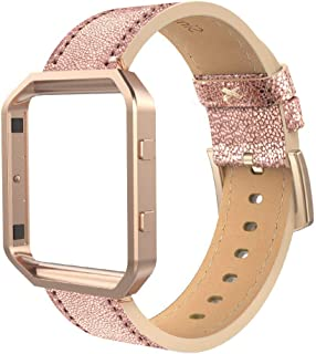 Simpeak Leather Band Compatible with Fitbit Blaze, Small Size with Frame, Genuine Leather Band Replacement for Fitbit Blaze, Bright Gold Rose Gold Frame