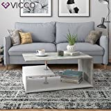 Vicco Coffee Table Guillermo Living Room Table White Concrete 91x52 Couch Table Side Table - 4