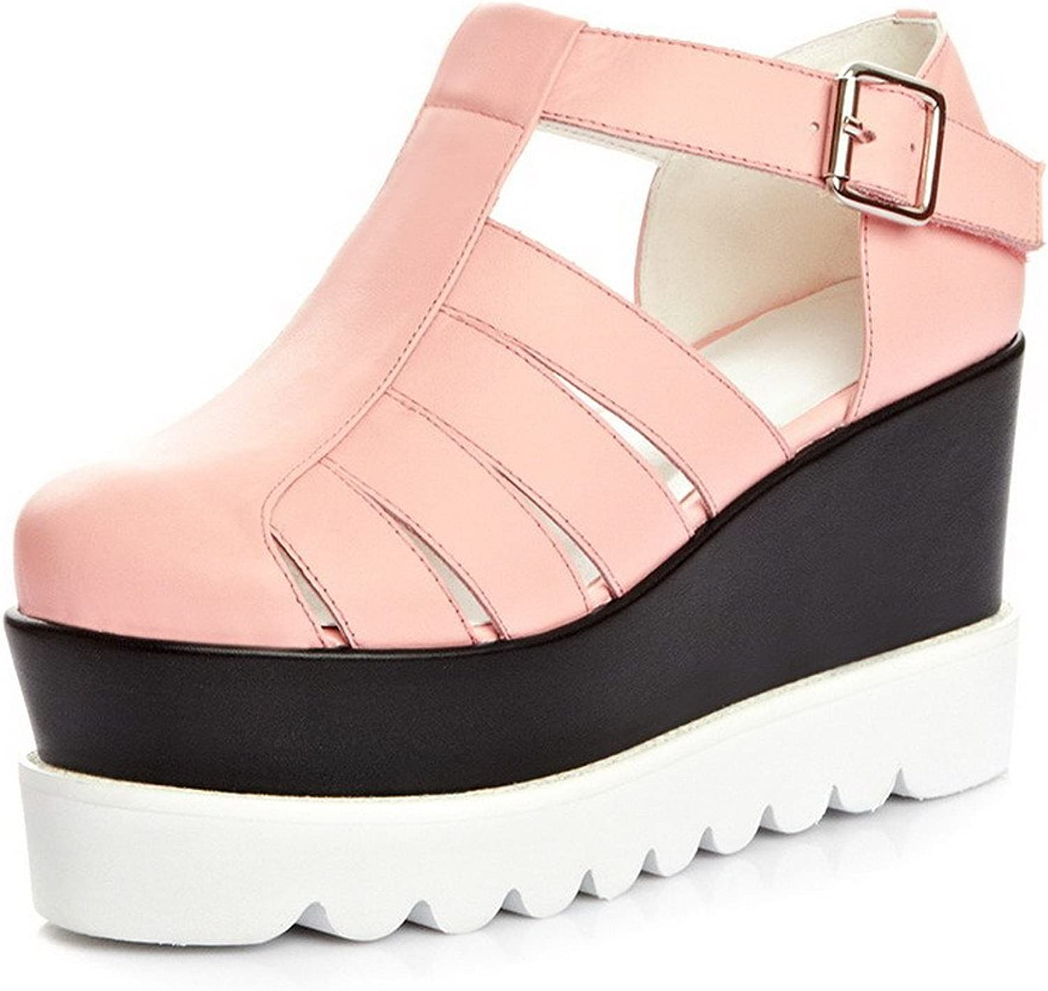 AllhqFashion Women's Round Closed Toe Cow Leather High Heels Solid Sandals with Wedge and Hollow Out