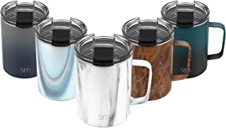 Simple Modern 12oz Scout Coffee Travel Mug Tumbler w/Clear Flip Lid - Cup Vacuum Insulated Camping Flask with Lid 18/8 Stainless Steel Hydro Pattern: Carrara Marble