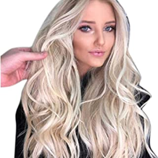 Light Blonde Cosplay Costume Ladies Wig with Free Wig Cap Women's Long Curly Fancy Dress Wigs,Hairpieces (Color : Blonde)