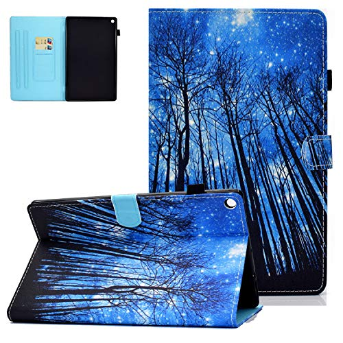 Fire HD 10 Case 2019/2017/2015 for Kids Girls, APOLL PU Leather Smart Cover with Auto Wake/Sleep Stylus Holder Card Slots Folio Stand Shell for Fire HD 10(9th/7th/5th Generation), I-Forest