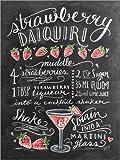 Poster 30 x 40 cm: Erdbeer-Daiquiri Rezept (Englisch) von