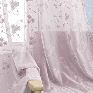 Sheer Curtains for Bedroom Rod Pocket Violet Vintage Floral Embroidered Voile Curtain for Living Room 84 inch Length Lilac Window Treatment 2 Panels