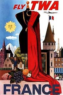 Visit France Paris Fly TWA Eiffel Tower French Flag Fashion Vintage Illustration Travel Laminated Dry Erase Sign Poster 24x36