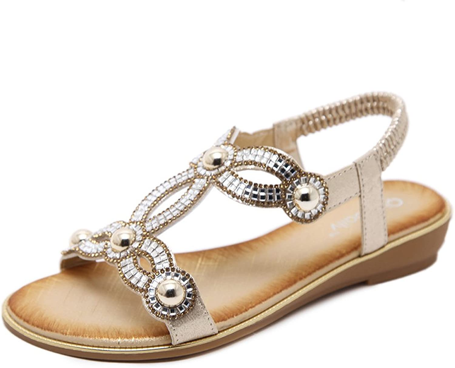 Tuoup Women's Leather Beaded Jeweled Walking Sandals Sandles