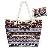 Czemo Große Strandtasche mit Reißverschluss und Innentasche Wasserdicht Badetasche Einkaufstasche...