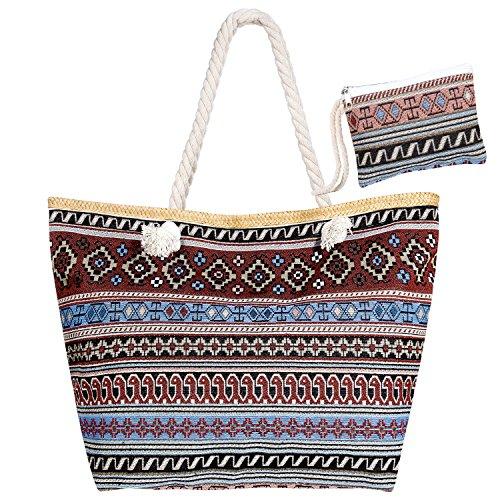 Czemo Große Strandtasche mit Reißverschluss und Innentasche Wasserdicht Badetasche...