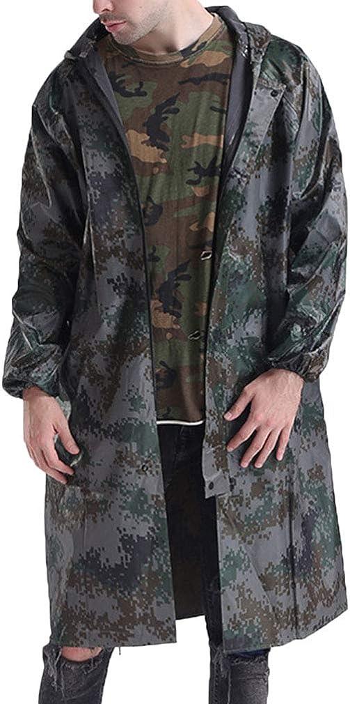 One Persent Men's Raincoats Lightweight Active Long Hooded Raincoat Outdoor Waterproof Workwear Fishing Jacket
