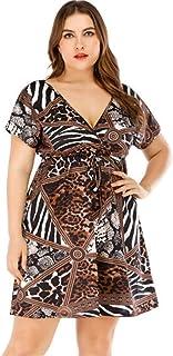YYLZA Women Clothing V Neck Short Sleeve Dress Ladies Casual Boho Plus Size Flower Print Summer Girls Party Dress