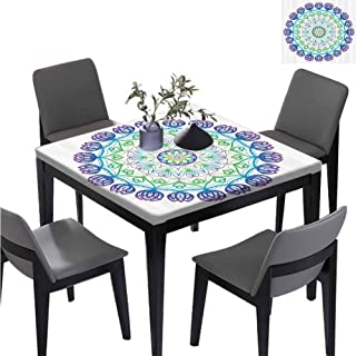 williamsdecor Boho Rosette Thanksgiving Square Tablecloth, Elastic on The Corner Water Resistant Tablecloth for Kitchen Room, 35.5W x 35.5L Inches(Elastic Edge)