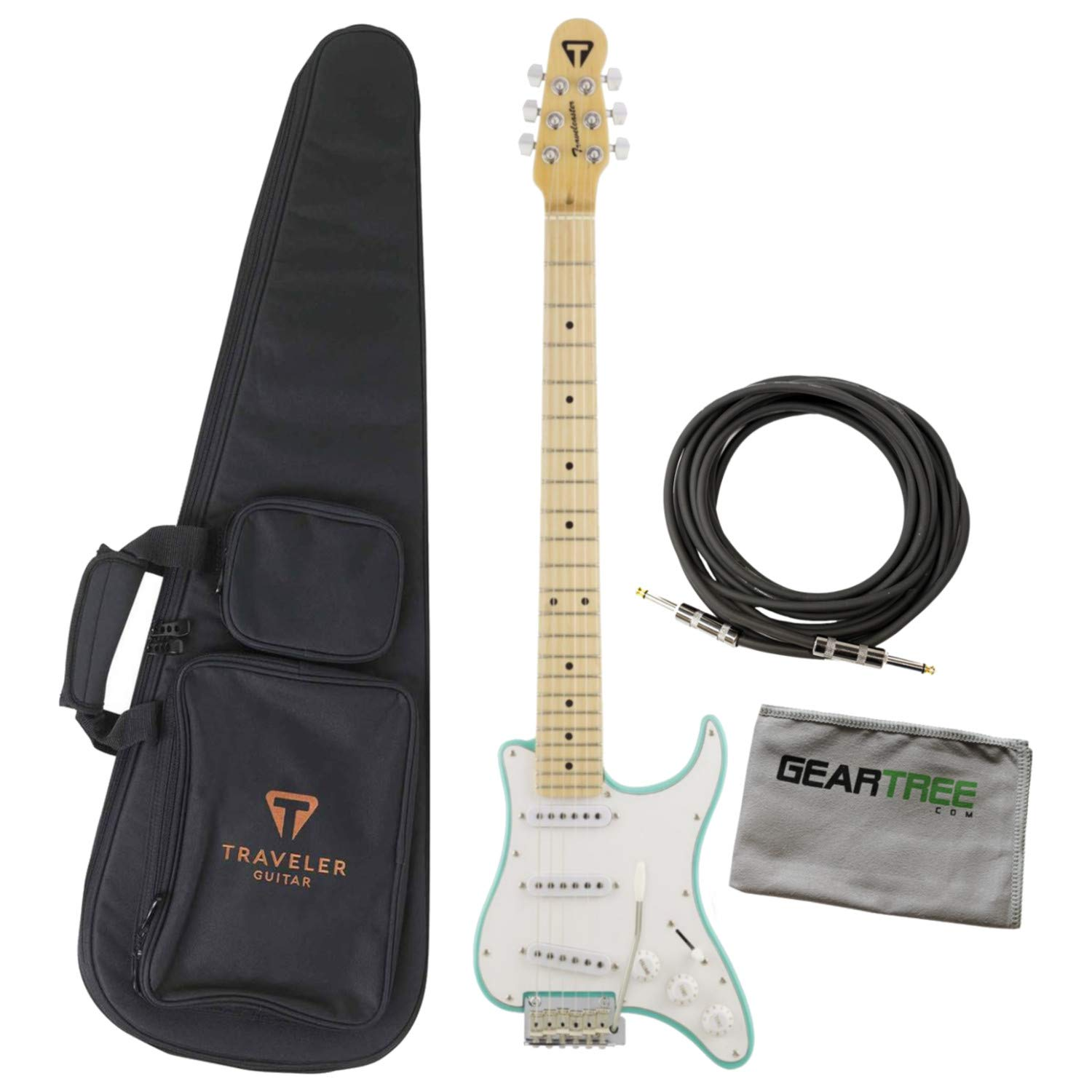Cheap Traveler Travelcaster Deluxe Surf Green Electric Travel Guitar Bundle w/Cable an Black Friday & Cyber Monday 2019