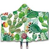 WNSS9 Manta con Capucha, Desierto de Arizona Cactus Mantas ilustración for niños y Adultos, Sofá Manta usable Capa 3D for la Cubierta al Aire Libre, Suave de la Manera Cabo Home Albornoz Adecuado for