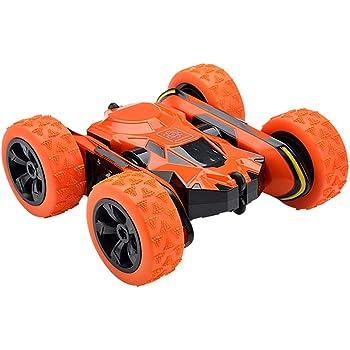 リモコンカー 電動ラジコンカー スタントカー 360度回転 ジャンプ 2.4GHz無線 両面走行特技を持つ USB充電式 高速 四輪駆動 耐衝撃 車おもちゃ 操作簡単 子供 小学生 贈り物 (オレンジ)