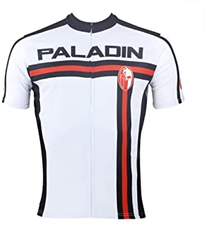 PaladinSport Men's Red and Black Stripes Style Short Sleeve Cycling Jersey and 3D Padded Shorts Set