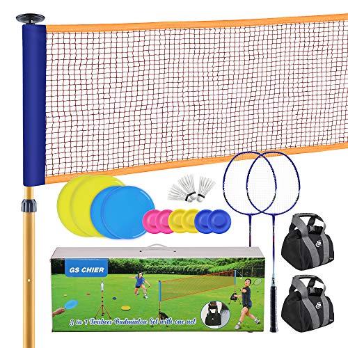 GS CHIER 2 in 1 Badminton und Flying Ring - Federball Komplettset Mit Federballschläger, Federbälle, Höhenverstellbares Netz mit Ständer + 10 Soft Flying Ring für Kinder und Erwachsene