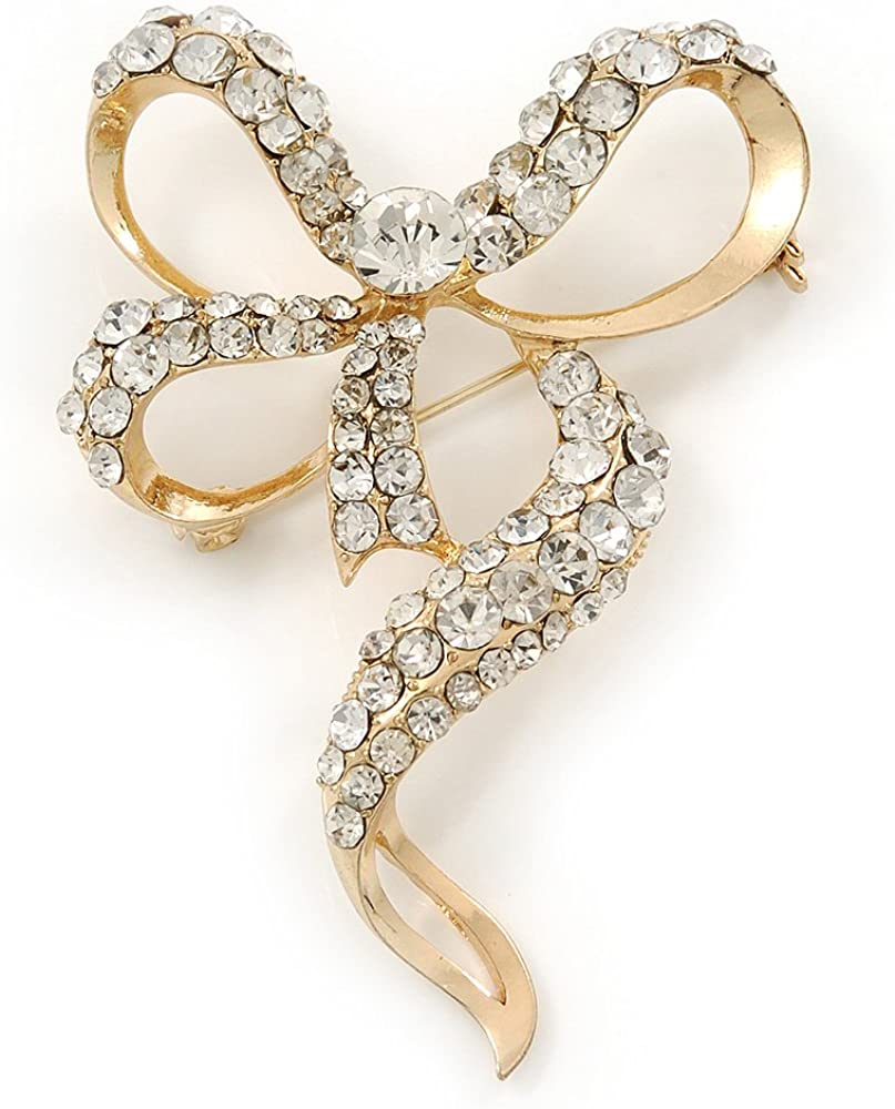 Avalaya Dazzling Diamante 'Bow' Brooch in Gold Plated Metal - 7cm Length
