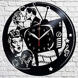 Vinyl Clock - I Love Lucy - Handmade Wall Clock - Vinyl Art Home Decor - Unique Vinyl Record Wall Clock - Custom Exclusive Vinyl Record Clock - Original Gift Idea - Black Clock 12