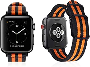 Carterjett Compatible Apple Watch Band 42mm 44mm Nylon Olive iWatch Band Replacement Strap Durable Dark Gray Adapters NATO Buckle Compatible Apple Watch Series 4 Series 3 2 1 (Black Orange, 42/44mm)