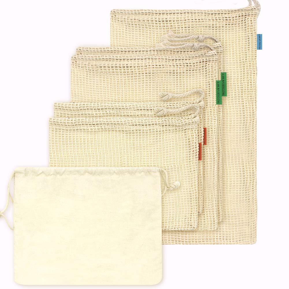 Bolsa de algodón reutilizable OneChois para frutas y verduras Juego de 6 (2S, 2M, 1L) +