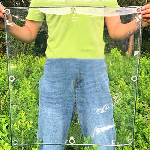 YJFENG Jardín Lona Transparente, PVC De 0,3 Mm Parabrisas, Impermeable Aislamiento Hidratante con Ojal Antioxidante Y Borde Negro para Invernaderos, Porche (Color : Claro, Size : 1.6X2M)