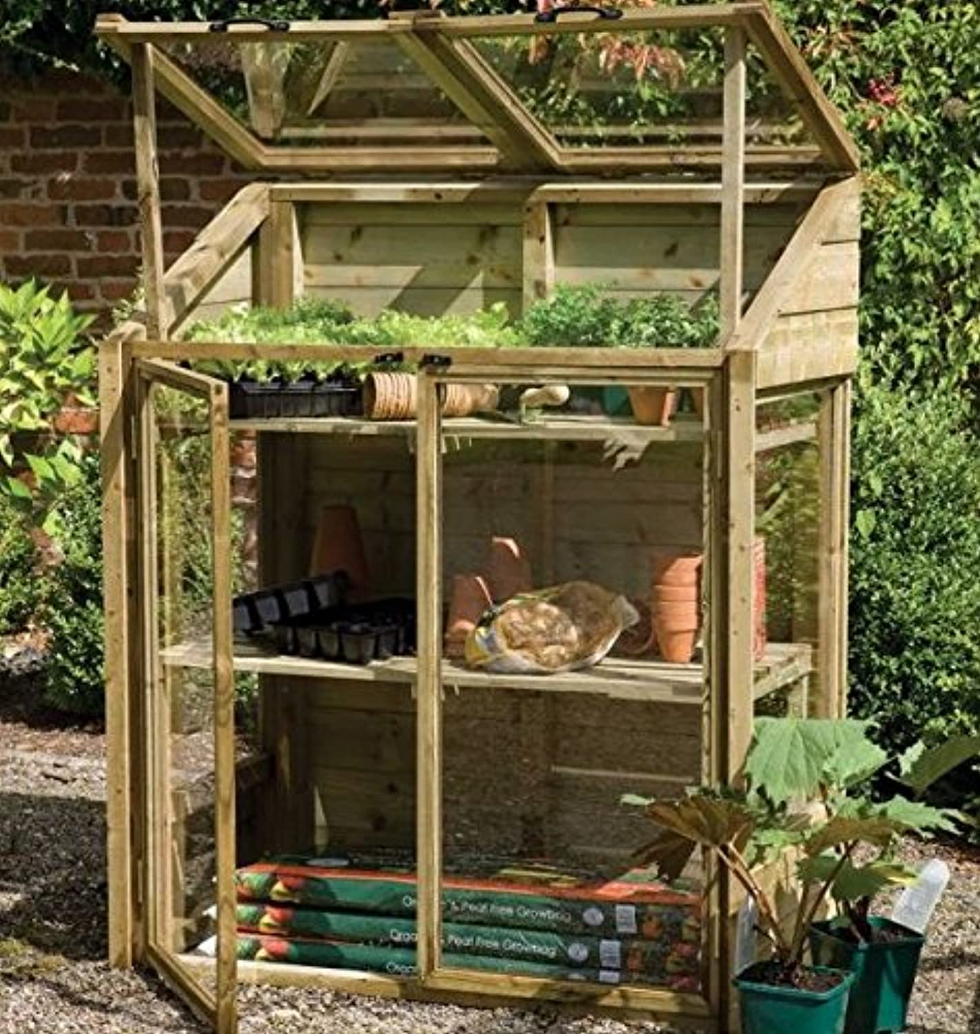 Forest Garden Sturdy Mini Wooden Greenhouse  Two Internal Shelves  Two Opening Lids And Doors