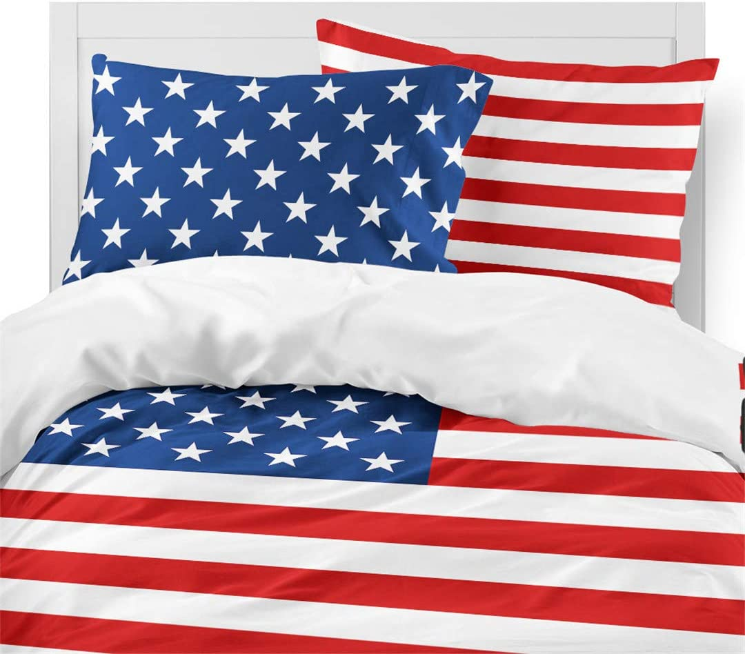 American Flag Printed Quilt Cover King Size Set Rhap Duvet Cover King Size Set of 3 Pieces Bald Eagle Valor Patriot Theme Digital Printed Duvet Cover Matching 2 Pillowcases