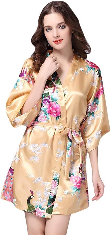 NREALY PJ Womens Printed Sleepwear Half Sleeve Nightwear Satin Top Pajama Nightgown