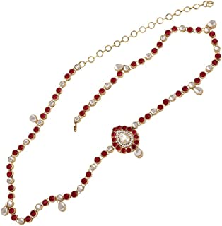 Peora Gold Plated Traditional Kundan Red Belly Chain Kamar Patta Kamarband Wedding Bridal Jewellery for Women Girls