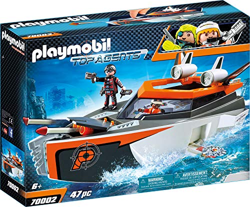 Playmobil Top Agents 70002 - Motoscafo Turbo dello Spy Team, dai 6 anni