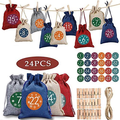 Hatonky Calendario de Adviento, DIY Bolsa de Regalo, 24 Pegatinas Digitales, Puede ser llenado, Se Utiliza para fFiestas de Navidad, Ggraduación, Matrimonio, Bautismo de Adultos, Cumpleaños