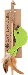 Teaser Toy, Plush Feather Kitten Play Toy, Felt Cloth Bright Colors Wood Teaser Toy for Cat Kitten(Green bird)