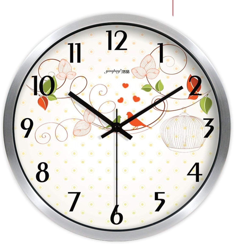 Wall clock bracket clock System clock hgoldloge hgoldlogium quartz clock crystalFashion creative fresh garden flowers living room clocks bedroom quiet wall clocks-B 14inch