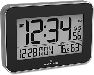 Marathon CL030060BK Atomic Wall Clock with Alarm, Snooze and Table Stand. Designer Frame with