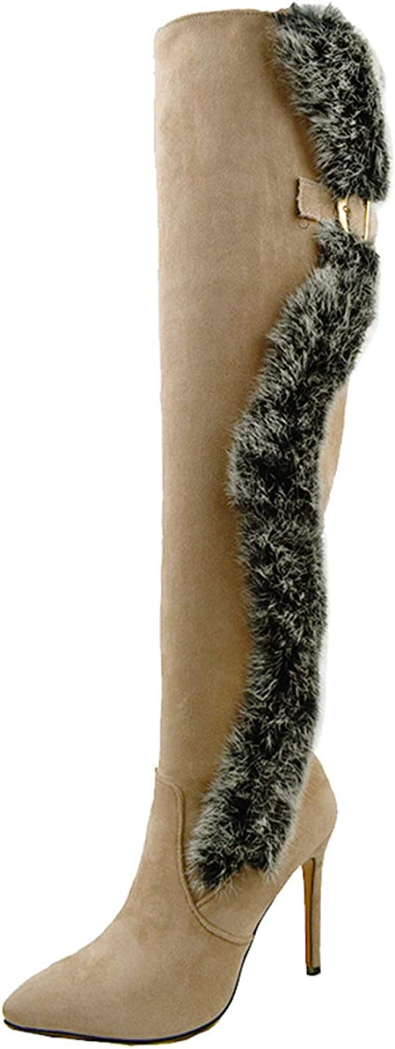 Women's Faux Fur Ranking TOP13 Long Boots Flock Over Long Beach Mall Sexy Lady The Knee