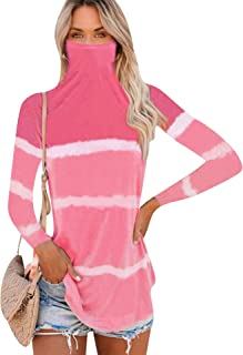 EFOFEI Womens Tie Dye Mask Attached Tops Long Sleeve Shirts Blouse with Face Mask Bandana