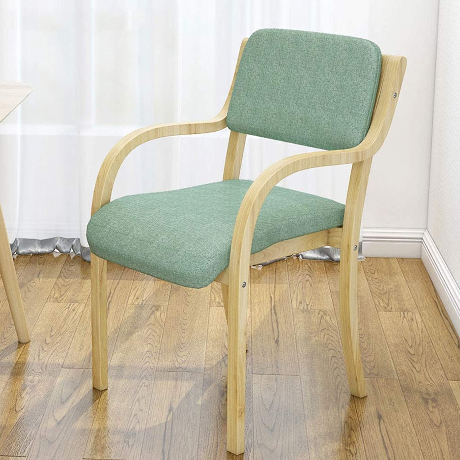 A+ Solid Wood Dining Chair with Backrest, High Resilience Sponge Filled Simple Chair, Fabric Seat- Size  53cm X 48cmX65cm (color   bluee)