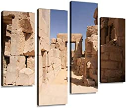 Temple of Karnak Canvas Print Artwork Wall Art Pictures Framed Digital Print Abstract Painting Room Home Office Decor Ready to Hang 4 Panel