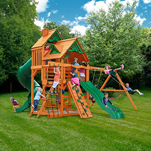 Gorilla Playsets 01-0030-AP Great Skye I Wood Swing Set with Wood Roof, Tube Slide, and Upper Level, Amber