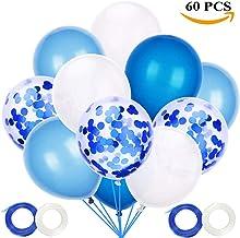 JOJOR Globos Azules y Blancos,60 Piezas Azul Globos con Confeti para Bebe 1 Año Cumpleaños,Niño Bautizos Comunion Baby Shower Azul,Bodas Aniversario Graduacion Fiesta Arco Decoracion