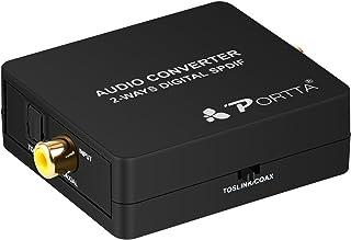Portta オーディオ変換アダプタ同軸光デジタル オーディオスプリッタ オーディオ切替器 オーディオ分配器 スイッチ2×1(2入力1出力)
